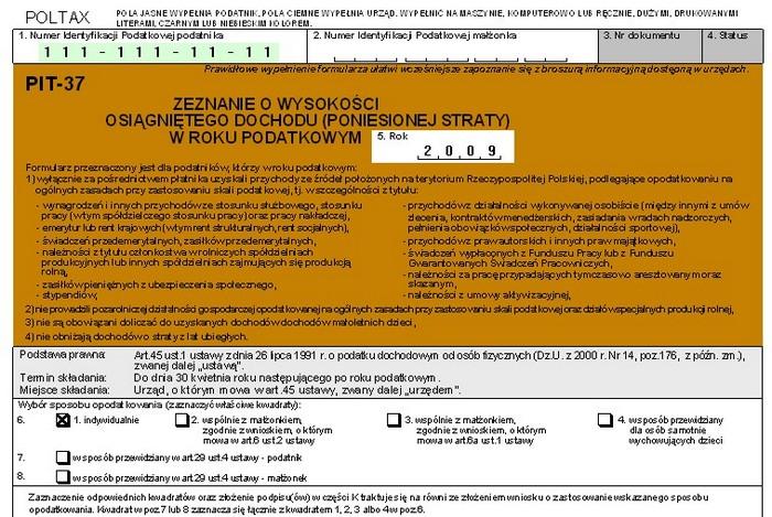 Formularz PIT za w formacie PDF - Pobierz Teraz druk PIT 37