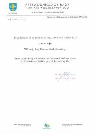 Trzynasta sesja Rady Powiatu