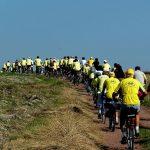 Uczestnicy jednego z powiatowych rajdów rowerowych jadący w peletonie, na zdjęciu kilkudziesięciu rowerzystów w żółtych koszulkach