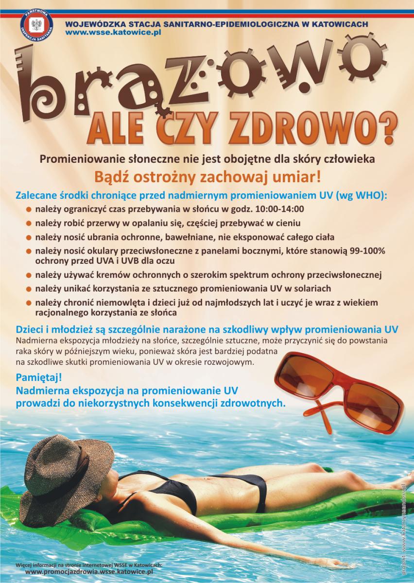 plakat dla kampanii społecznej na rzecz zdrowego opalania; plakat Wojewódzkiego Sanepidu; opis w treści posta