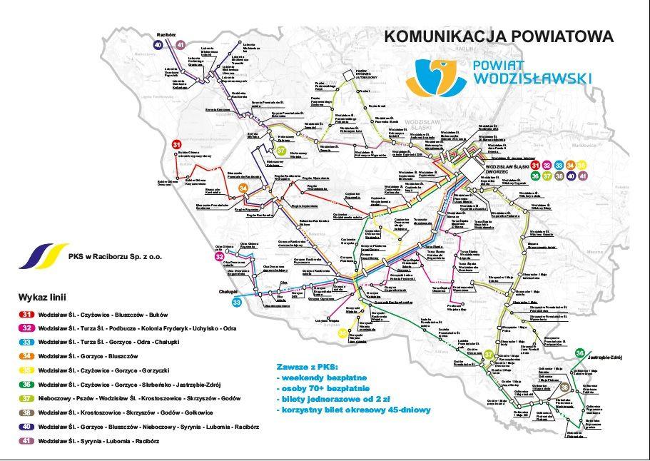 schemat linii komunikacji powiatowej