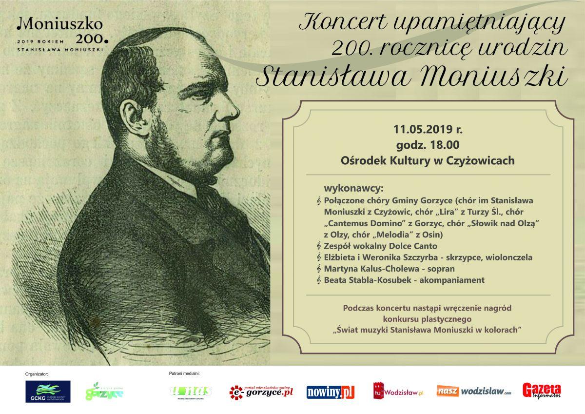 plakat koncert pieśni Stanisława Moniuszki