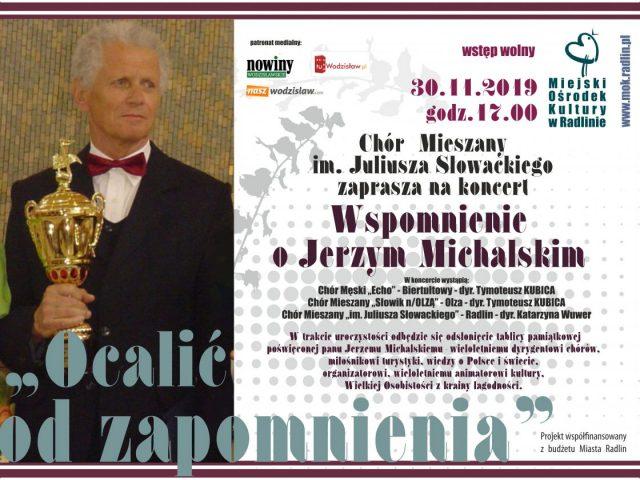 """plakat koncert """"wspomnienie o Jerzym Michalskim"""""""