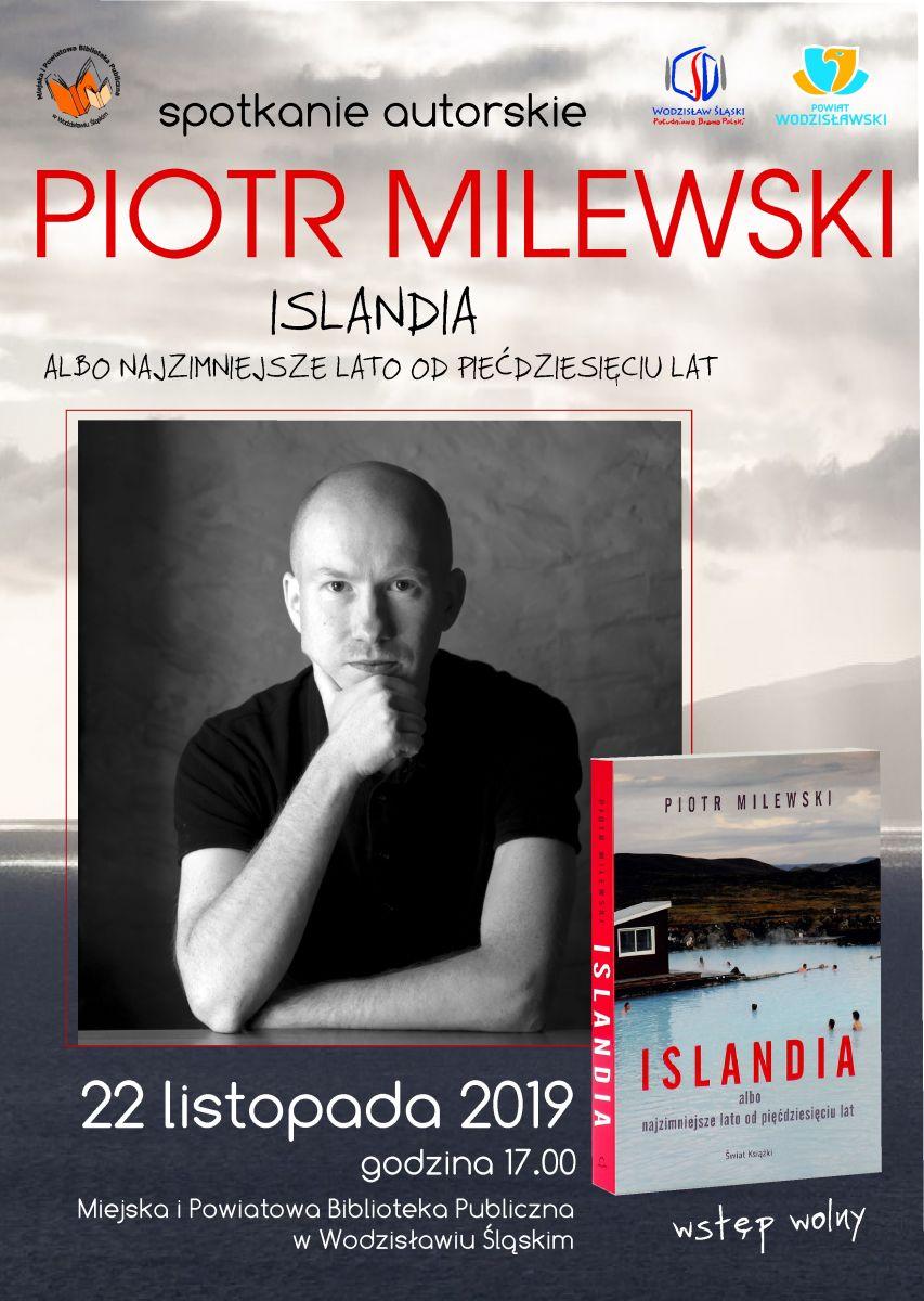 """plakat spotkanie autorskie Piotr Milewski """"Islandia"""""""