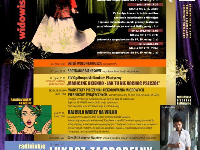 plakat grudzień z miejskim ośrodkiem kultury w Radlinie