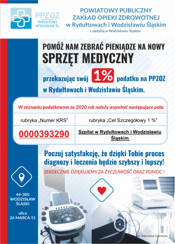 1% dla szpitali w Wodzisławiu Śl. i Rydułtowach ulotka