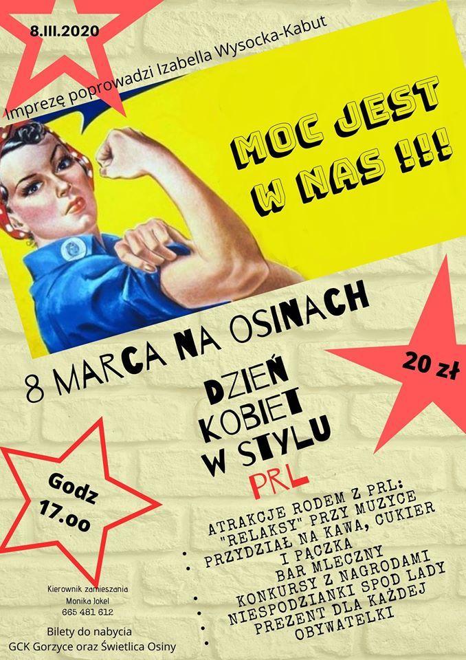 plakat dzień kobiet w stylu prl
