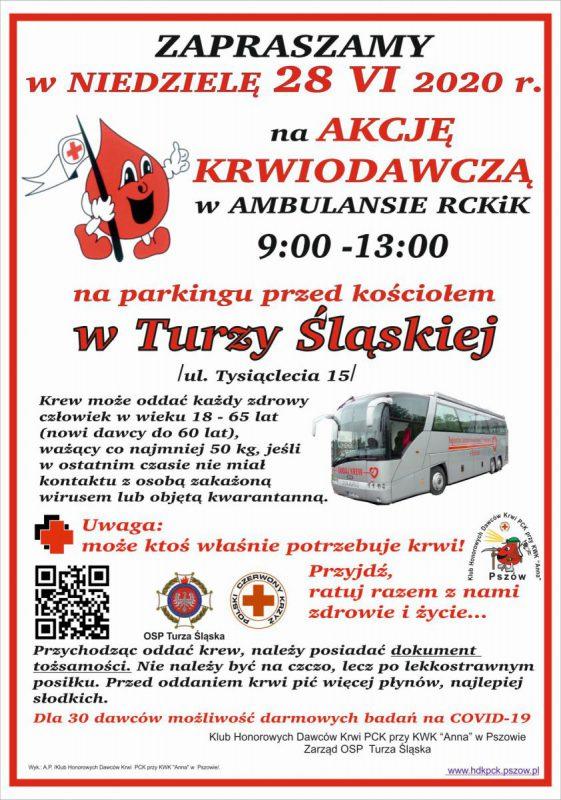 Plakat akcji krwiodawczej w Turzy Śl.