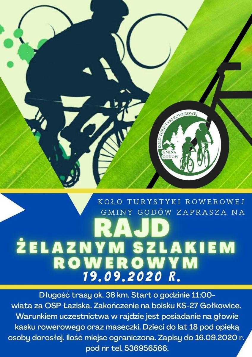 Plakat - rajd Żelaznym Szlakiem Rowerowym 19.09.2020 r.