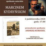 Plakat - spotkanie z Marcinem Kydryńskim w bibliotece 2.10.2020 r.