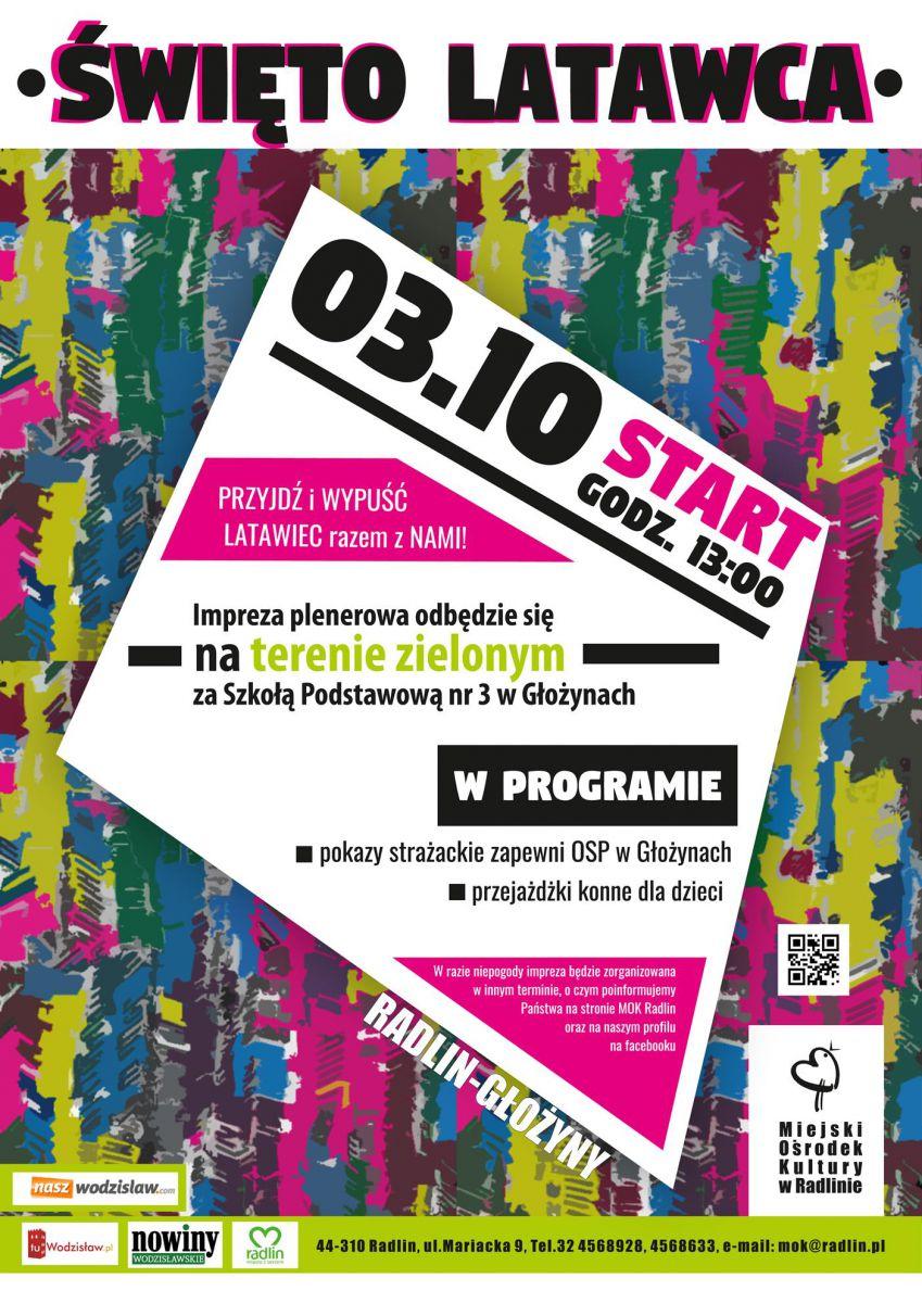 plakat - Święto latawca w Radlinie 3.10.2020 r.