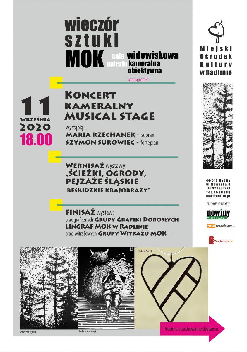 Plakat - Wieczór Sztuki w Mok Radlin, 11.09.2020 r., godz. 18.00