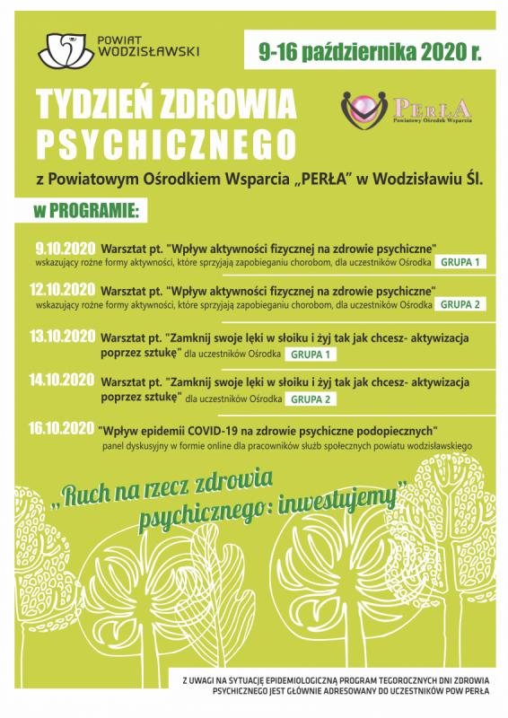 Plakat z okazji Tygodnia Zdrowia Psychicznego