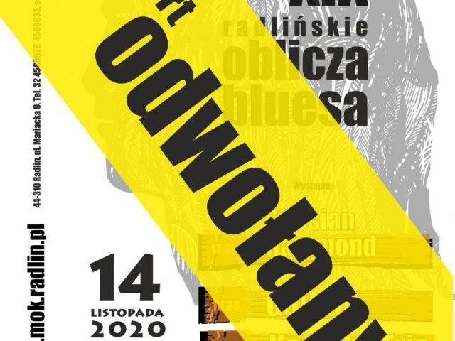 plakat - odwołanie koncertu w WCK w Radlinie