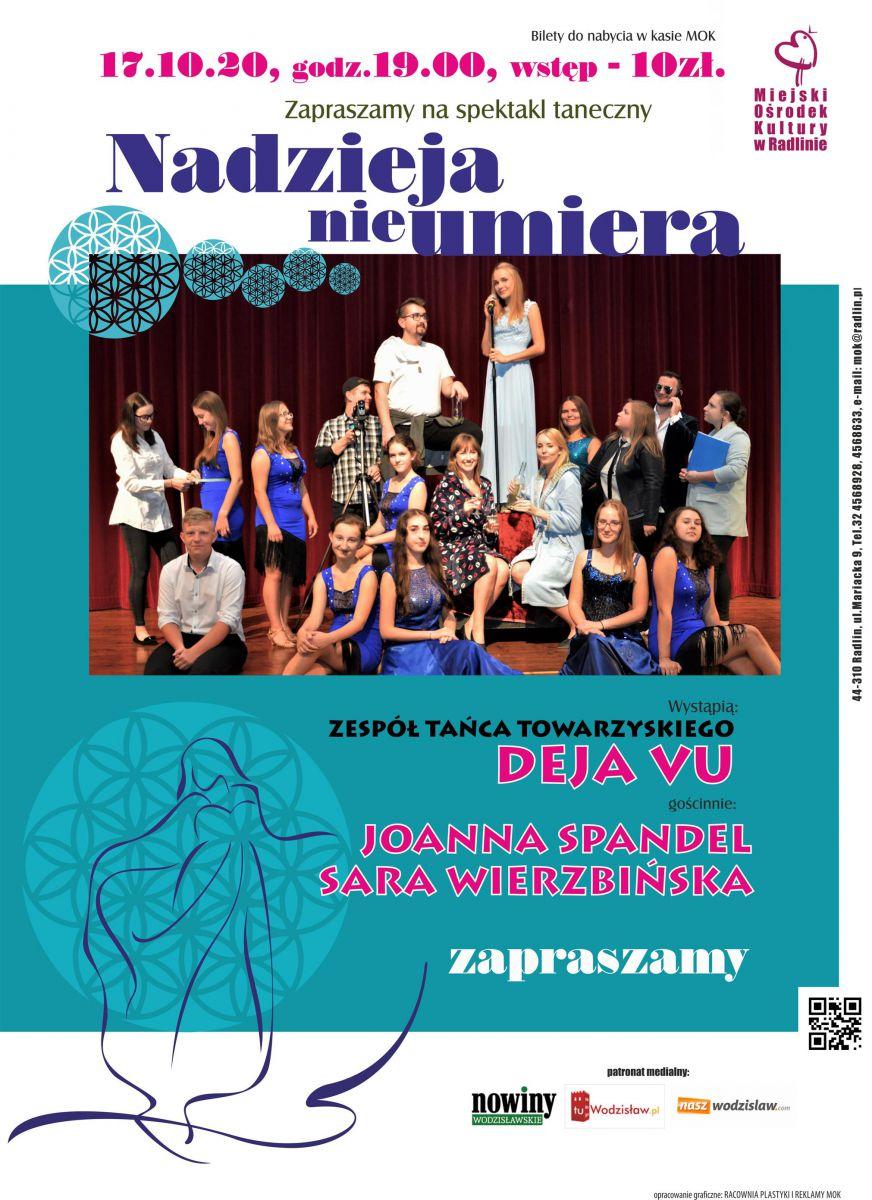 """Plakat - spektakl """"Nadzieja nie umiera"""", MOK Radlin, 17.10.2020 r. , godz. 19.00"""