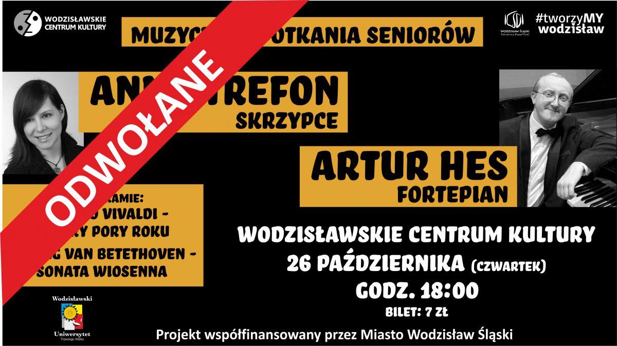 """plakat - odwołanie """"Muzycznych spotkań seniorów w WCK"""