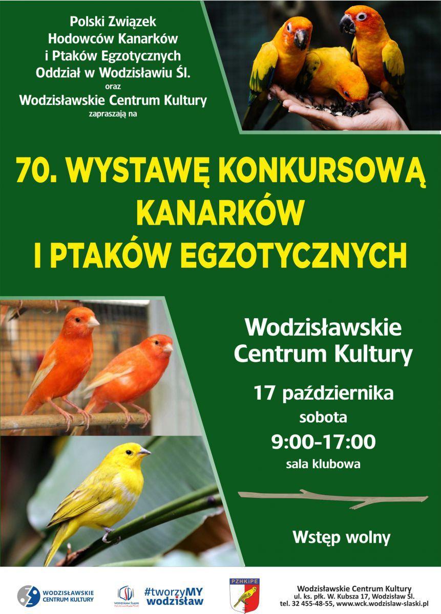 Plakat - wystawa kanarków i ptaków egzotycznych - 17.10.2020 r., WCK
