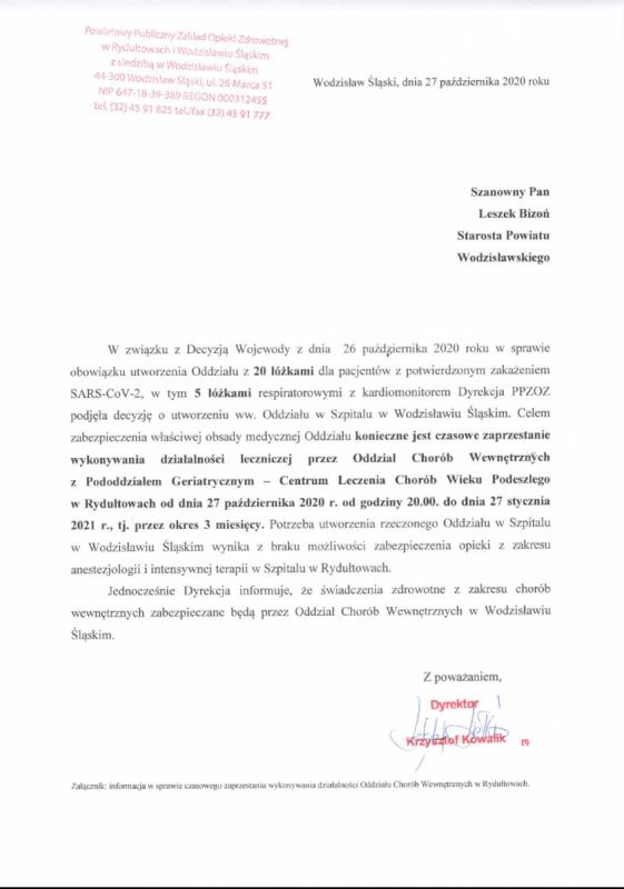 zawieszenie Interny w Rydułtowach pismo informacyjne dyrekcji PPZOZ