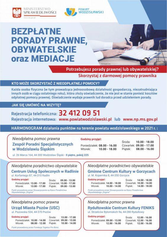 plakat z informacjami o punktach bezpłatnych porad prawnych