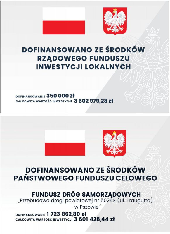 tablica informacyjna o inwestycji na ul. Traugutta, podwójna, zawirająca informacje o dofinansowaniu ze środków budżetu państwa oraz elementy graficzne: godło i flagę Polski