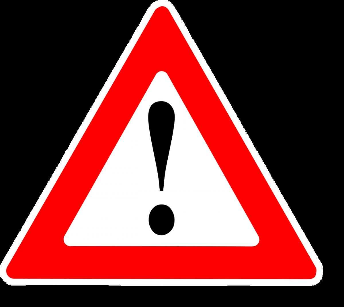 znak graficzny ostrzeżenia, uwaga, wykrzyknik