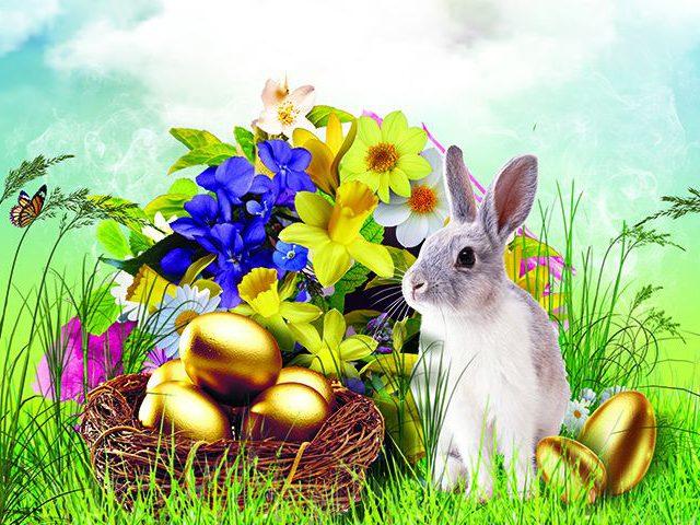 Obrazek świąteczny z króliczkiem i koszyczkiem z jajkami