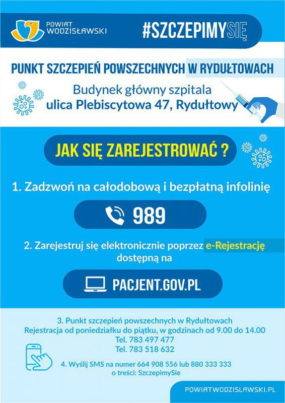 Plakat Punkt Szczepień Rydułtowy Jak się zarejestrować