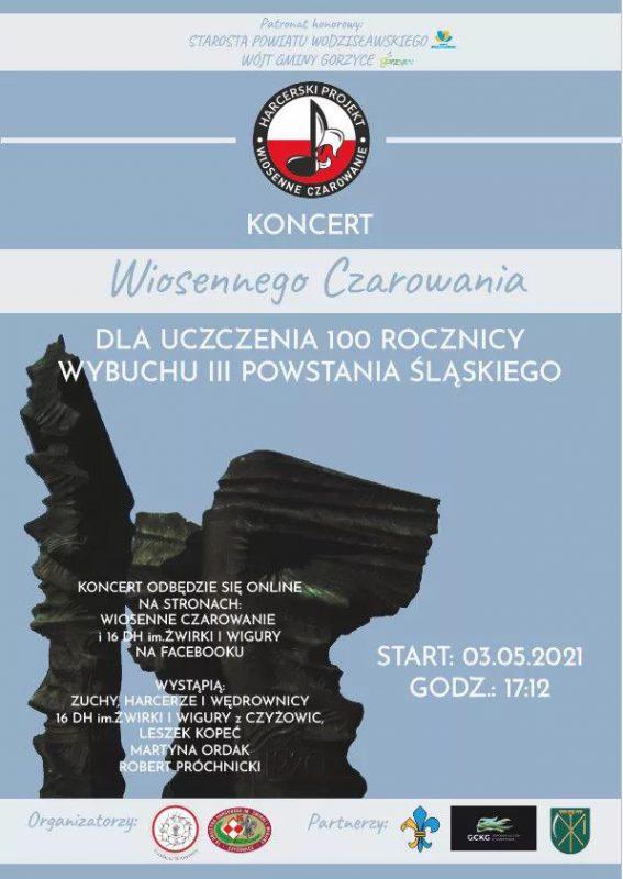 plakat promujący koncert z okazji setnej rocznicy wybuchu III Powstania Śląskiego