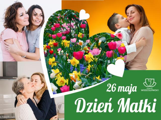Dzień Matki grafika okolicznościowa z sercem pośrodku i różnymi wizerunkami matek z dziećmi