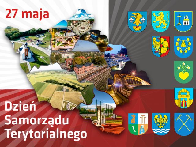 27 maja Dzień Samorządu Terytorialnego grafika okolicznościowa zawierająca obrys mapy powiatu oraz herby gmin powiatu