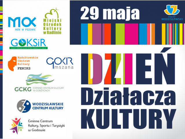 29 maja Dzień Działacza Kultury grafika okolicznościowa zawierająca abstrakcyjny malunek oraz logotypy instytucji kultury z powiatu wodzisławskiego