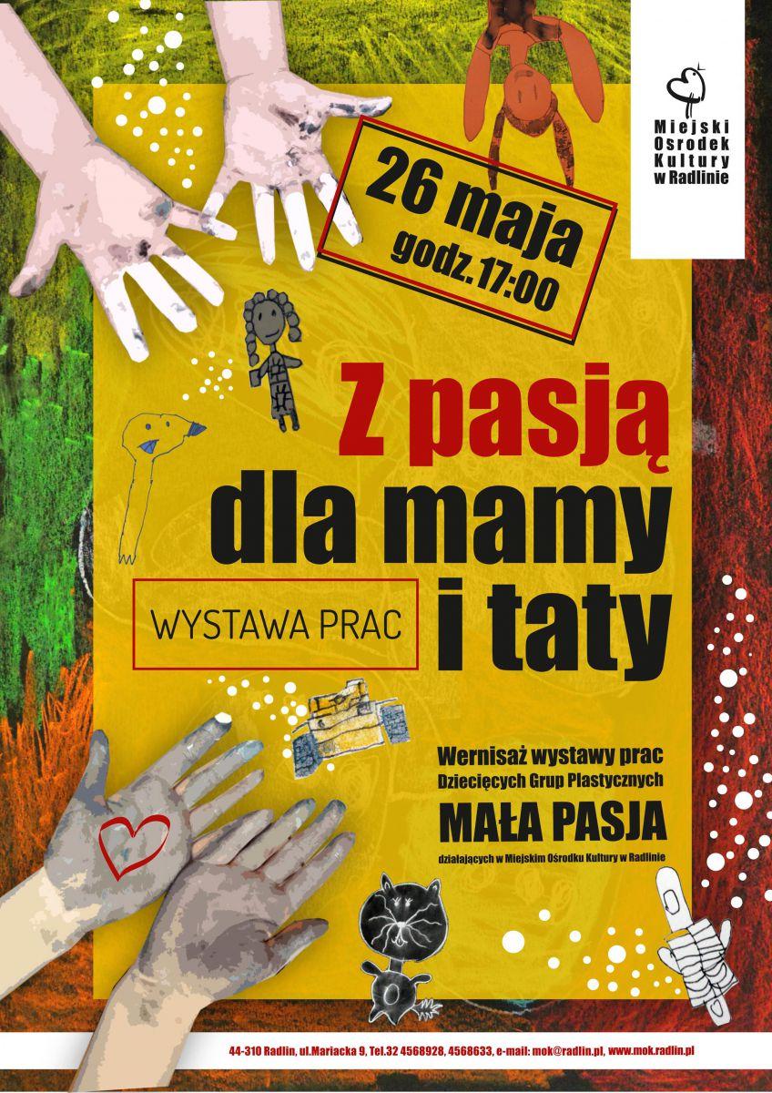 plakat - wystawa prac plastycznych grup dziecięcych w MOK Radlin