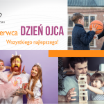 Dzień Ojca grafika okolicznościowa przedstawiająca mężczyzn i dzieci w różnych scenkach sytuacyjnych