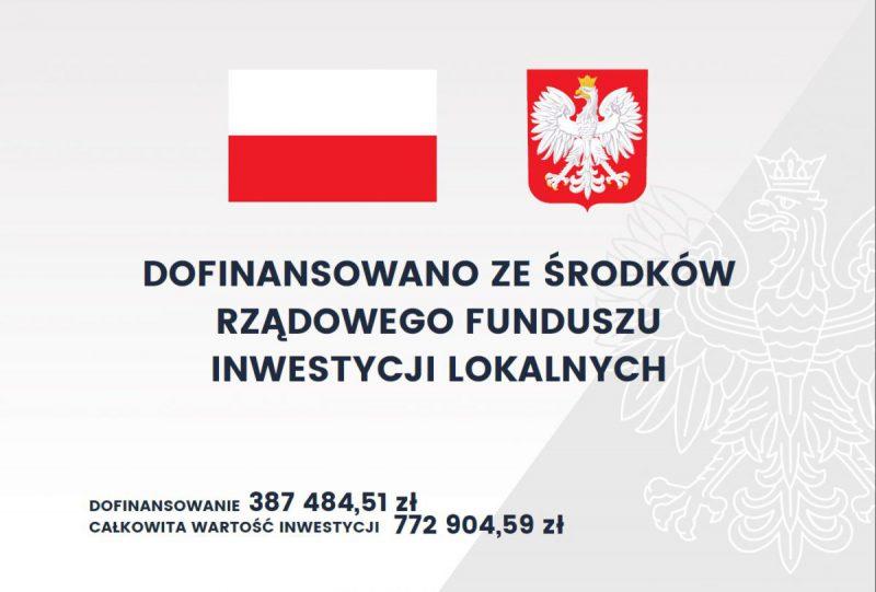 tablica informacyjna dotycząca inwestycji na ul. Dworcowej w Łaziskach