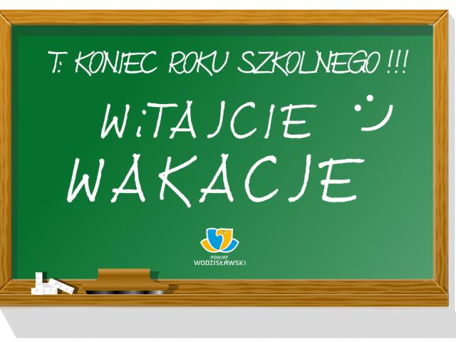 grafika okolicznościowa z okazji rozpoczęcia wakacji, na zdjęciu tavlica szkolna z napisem koniec roku szkolnego witajcie wakacje