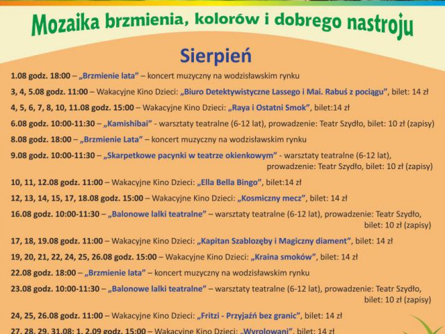 plakat imprez Wodzisławskiego Centrum Kultury w sierpniu 2021 r., zawartość w treści posta