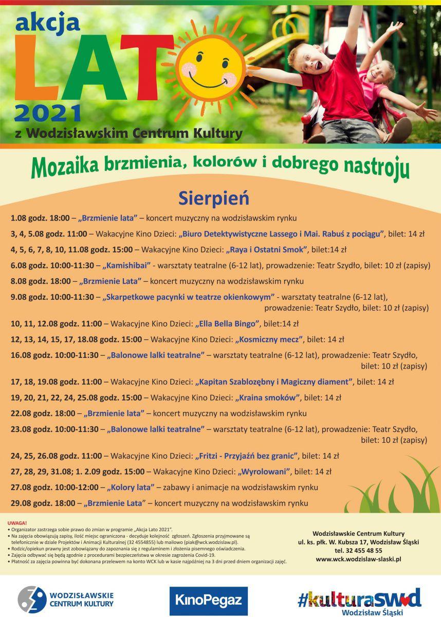 plakat i zajęcia plastyczne w WCK w sierpniu 2021 r.