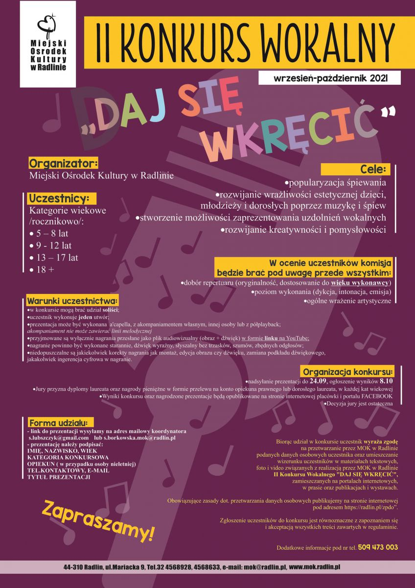 plakat - konkurs wokalny w MOK Radlin