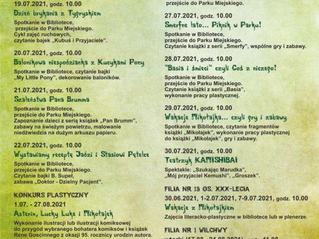 plakat plan zajęć w bibliotekach podczas wakacji