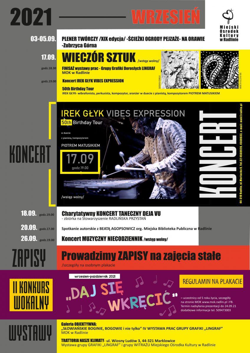 plakat - imprezy w MOK Radlin we wrześniu