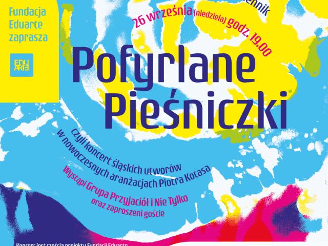 Plakat zapraszający na koncert Pofyrlane Pieśniczki, opis alternatywny w treści posta