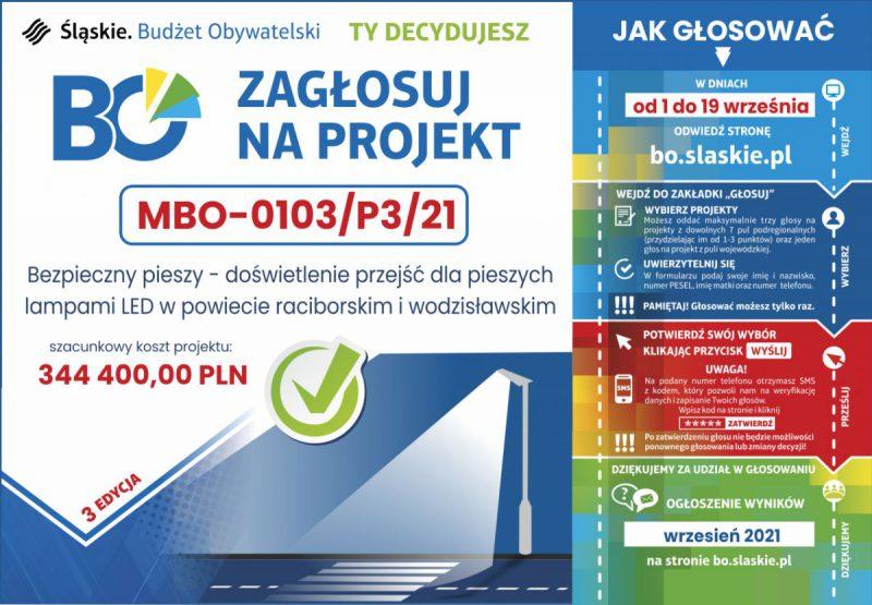 Infografika dla projektu do budżetu obywatelskiego województwa śląskiego na 2021 r. dot. projektu doświetlenia przejść dla pieszych