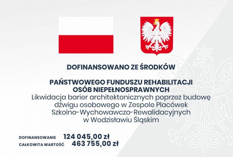 Tablica informacyjna dla projektu dot. budowy dżwigu osobowego w ZPSWR Wodzisław Śl.
