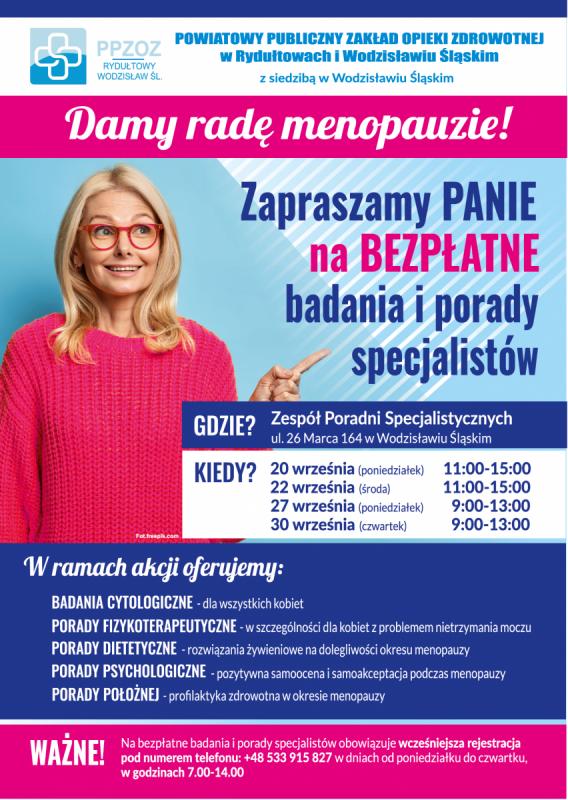 plakat akcji profilaktycznej PPZOZ poświęconej profilaktyce menopauzy. opis alternatywny w treści posta