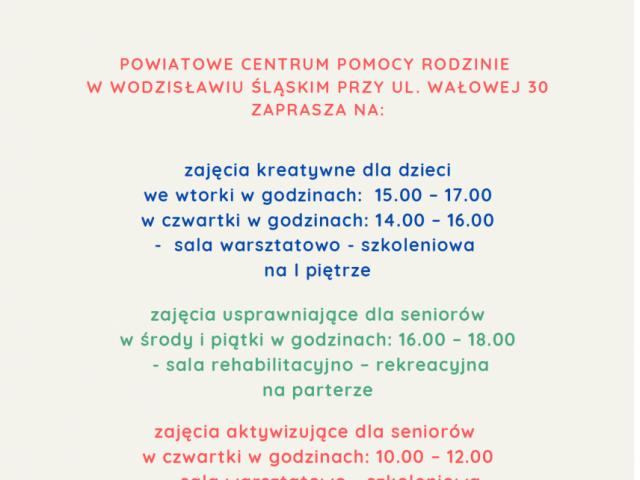 plakat promujący zajęcia w oazie aktywności w październiku 2021 r. opis alternatywny w treści posta