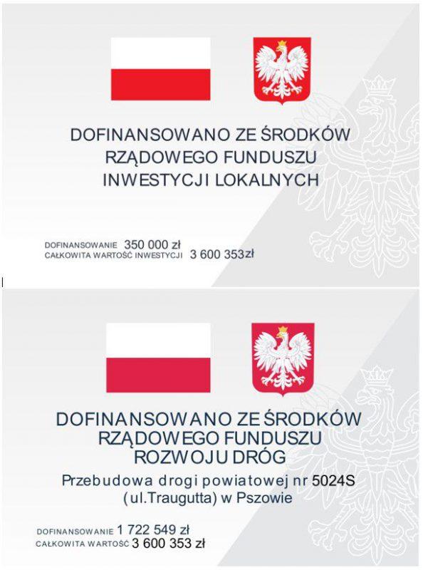 tablica informacyjna dot. inwestycji na ul. Traugutta