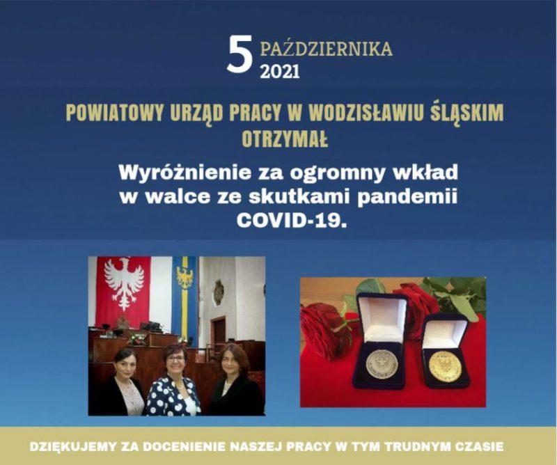 Grafika przygotowana przez PUP Wodzisław Śl. z okazji otrzymania przez pracowników odznak za zasługi da województwa śląskiego. Grafika Zawiera zdjęcia 3 nagrodoznych osób, zdjęcie medali oraz opis okoliczności, za które przyznano odznaki wraz z datą 5.10.2021