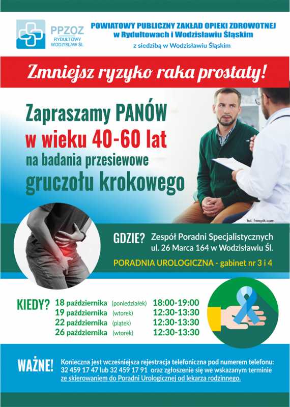 Plakat promujący akcję badań profilaktycznych prostaty w PPZOZ, opis alternatywny w treści posta