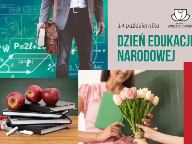 Grafika okolicznościowa z okazji Dnia Edukacji Narodowej zawierająca kolaż różnych zdjęć i napisów