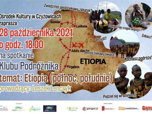 plakat - spotkanie w zamach Klubu Podróżnika w Czyżowicach, na plakacie mapa Etiopii i jego mieszkańcy